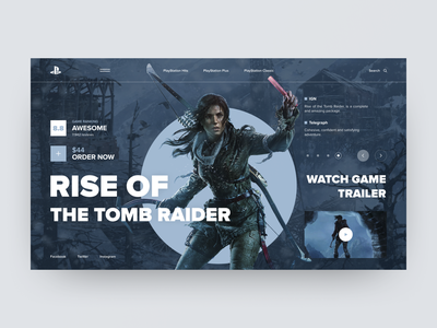 PlayStation Concept Rise of the Tomb Raider film game product blue interface sport photo grid colors charachter art navigation ux design typography layout elements web ui style design