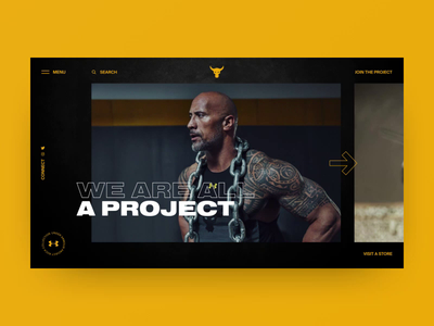 Under Armour Project Rock concept gallery yellow black animation motion video photo grid colors charachter art sport navigation ux design typography layout elements web ui style design