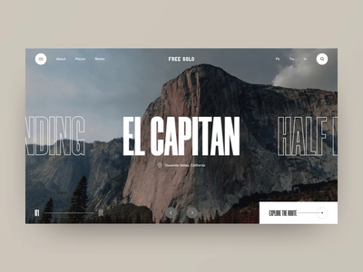 FREE SOLO online route exploring clean photo landing website slider free solo interface animation video motion grid navigation elements ux design typography layout web ui style design