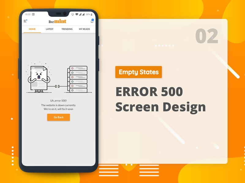 Error 500 empty state flat app  design user interface vector ux ui mobile app minimal illustration error message error page error 500 empty state design cute clean design character concept character art character app design