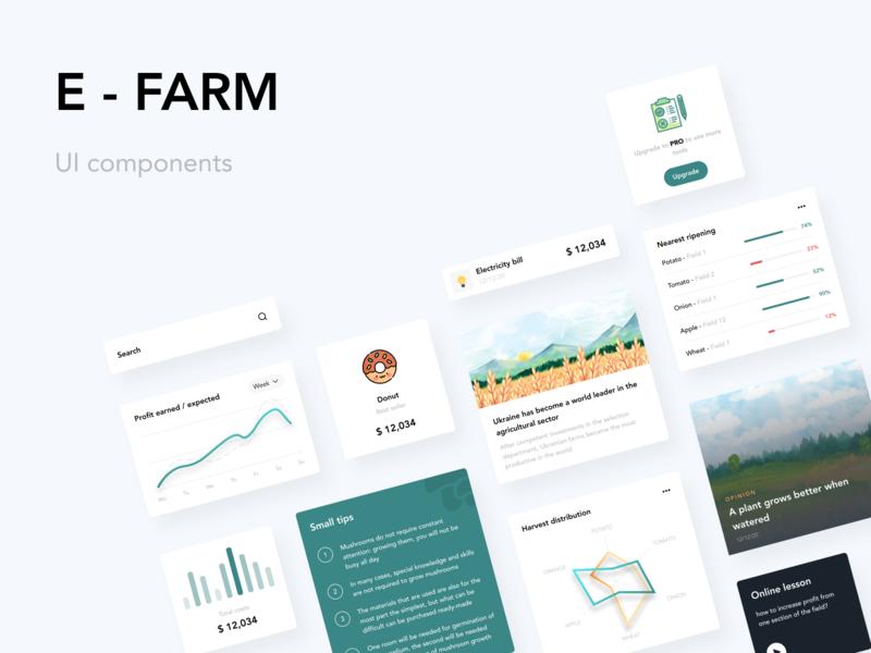 E-FARM UI components text field card ui ui components farmers components dashboard ecommerce design everyday web design charts ui design farming farmer efarm farm