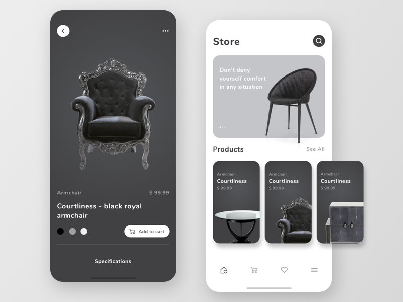 E-commerce mobile app concept product card table store armchair furniture store furniture app app icon typography ux design vector ux ui ios design ui ux mobile app ui design e-commerce app e-shop e-commerce