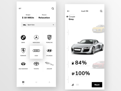 Car rental mobile app concept