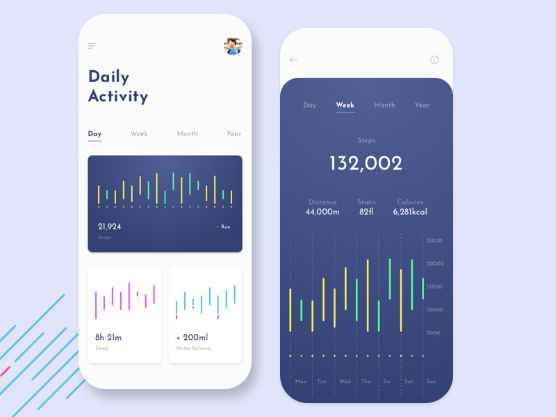 Daily Activity Tracking mobile app fitness tracker fitness app tracking app health mobile app health app ehealth activity tracking app dashboard ui app design dashboard graphic design design ux design ux ios web design ui ux ui mobile app ui design