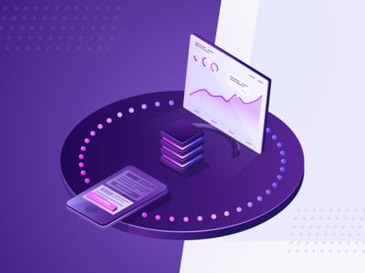Landing page illustration magenta purple gradient isometric mobile dashboad conversion seo marketing web illustration branding design vector