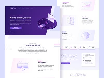 Landing page slanted illustrations conversion seo purple gradient webflow web design marketing site landing page web ux ui branding design