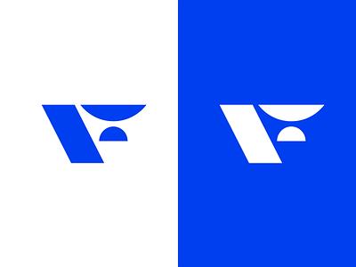F Mark (WIP) slanted blue letter typography flat logo branding design vector