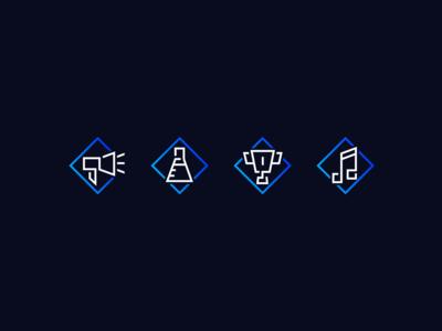 Set of icons gradient futuristic marketing agency iconography icon branding vector design