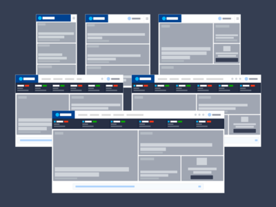 Lo-Fi visualization of major breakpoints web design layout front-end styleguide breakpoint