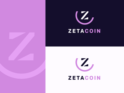 Zetacoin crypto app typography branding icon flat vector logo design