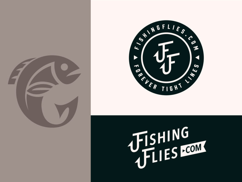 Fishing Flies Logo typography icon illustration flat branding logo vector design