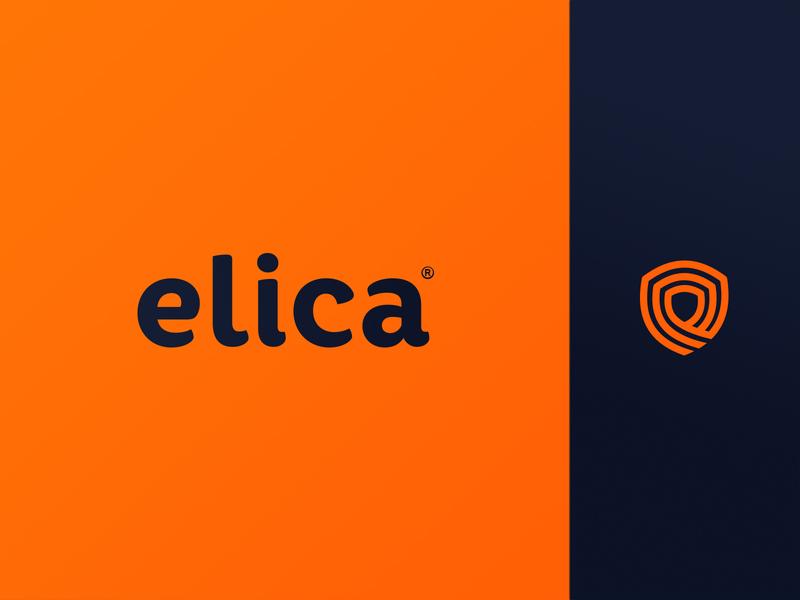 Elica abstract clean modern blue darkblue type typografy landing concept logo orange app branding security idenity branding brand