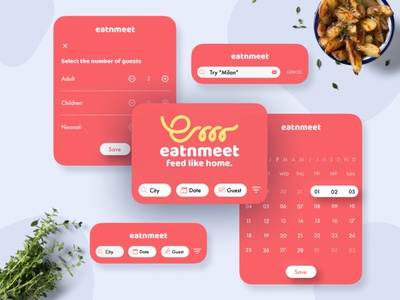 EAT'N'MEET - feed like home - key interactions design app share app share food app food interactive design interaction design microinteraction app geometric vector typography flat ux ui minimal design