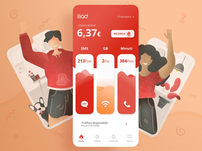 Iliad App Design principle aftereffects red phone operator modern illustration interaction design mobile app mobile telephone operator iliad animation app design app ux ui design