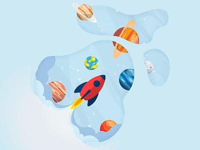 Space rocket illustration 🚀 rocketship rocket spaceship space vector illustration design