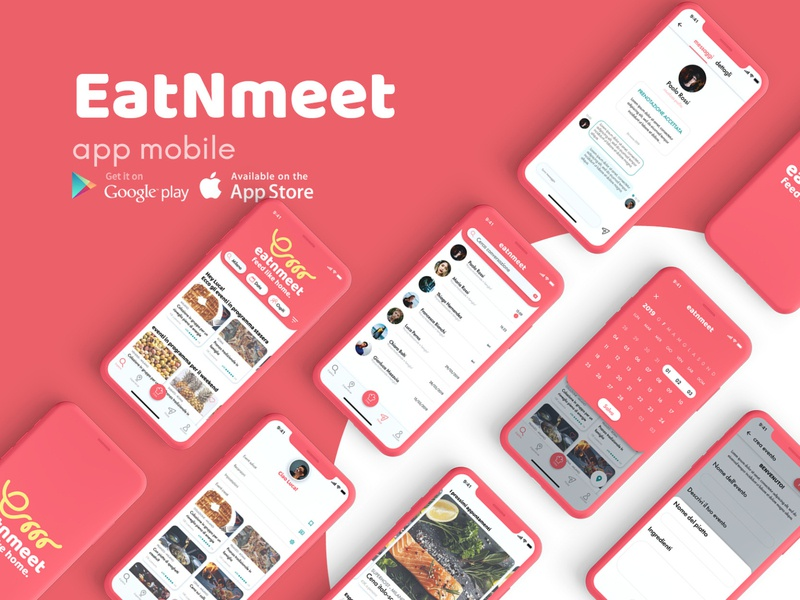 EAT'N'MEET - feed like home. red experience design share food social app social app food app typography design ux ui