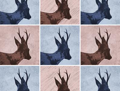 Deer Mosaic wall art grid design art print modern art pattern