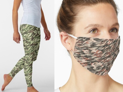 Camo Clothes face mask clothing mask camouflage grunge print
