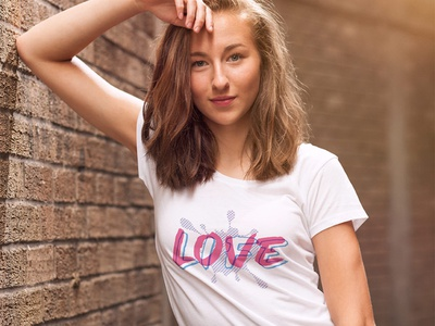 Love Life print fun cute lettering retro t shirt design typography