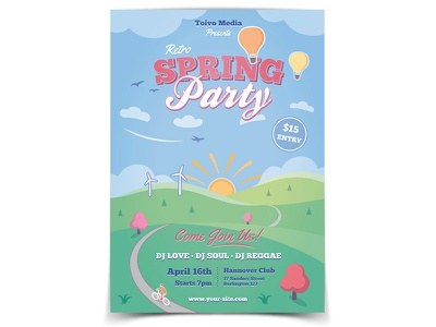 Spring Party Flyer template print design vector scenery retro poster outdoor nostalgic landscape illustration festival country