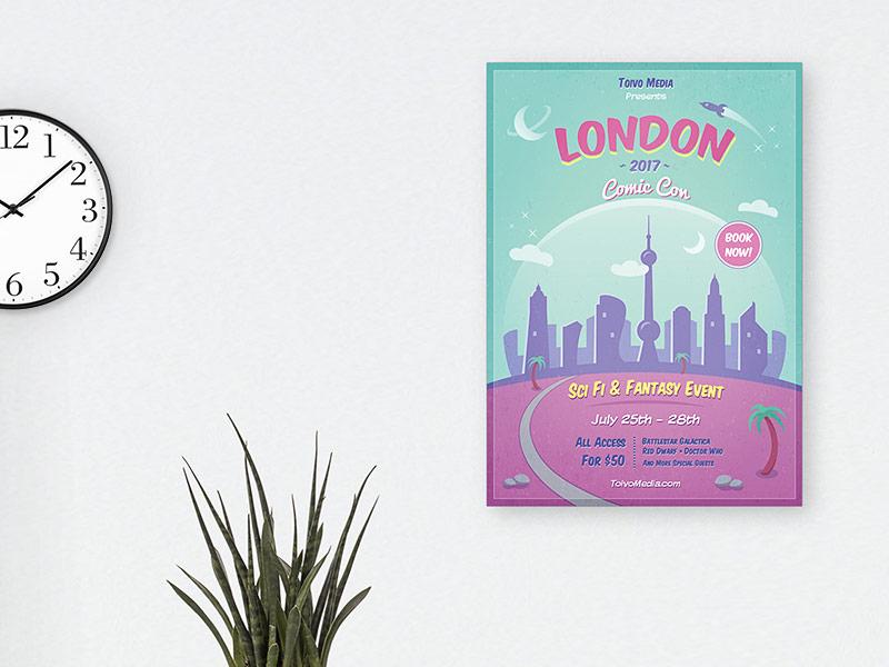 Retro Sci Fi Poster comic con comics template vector city futuristic science fiction space travel poster film festival convention