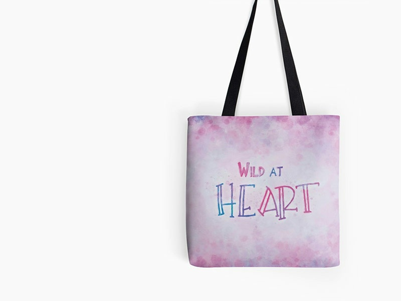 Wild At Heart fun colorful painted artist creative tote bag typography art typography design kids art
