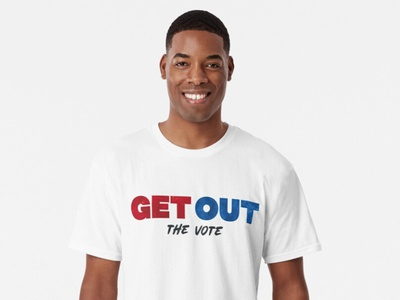 Get Out the Vote blue red primary election america politics grunge t shirt design lettering typography