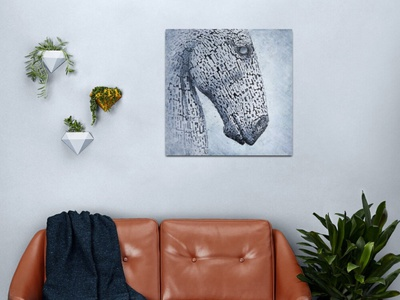 Kelpies in the Rain - wall art digital art interior decor interior design wall art rain blue sculpture art poster print