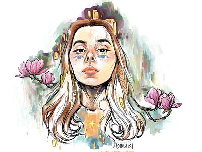 selfportrait moscow magnolia color pocahontas stars artnouveau eerie klimt flowers portrait art portrait illustration photoshop illustration portrait