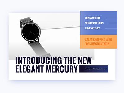 Watch Company website type blue orange watch homepage
