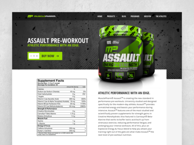 Musclepharm Assault Pre-Workout (landingpage) website green fitness product productpage landingpage