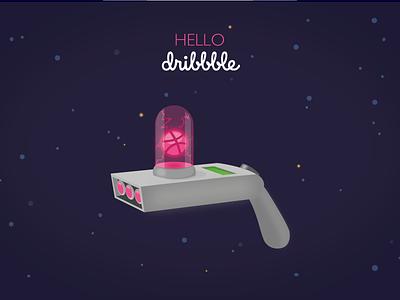 Hello Dribbble! welcome dan harmon justin roiland interdimensional illustrator cc vector debut brain rickandmorty portalgun illustration hello dribbble