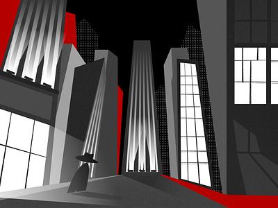Gotham comics dots graphic red darkness dark skyscraper gotham vector concept illustration