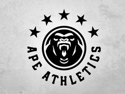 APE ATHLETICS gym fitness apparel sports logo sports logodesign logo gorilla athletics ape