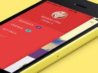 Menu for new messaging app
