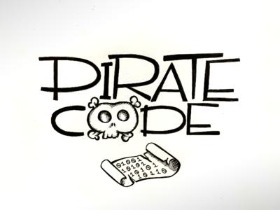 Pirate Code Hand Type micron scroll skull and crossbone skull  crossbone skull typography handtype code pirate