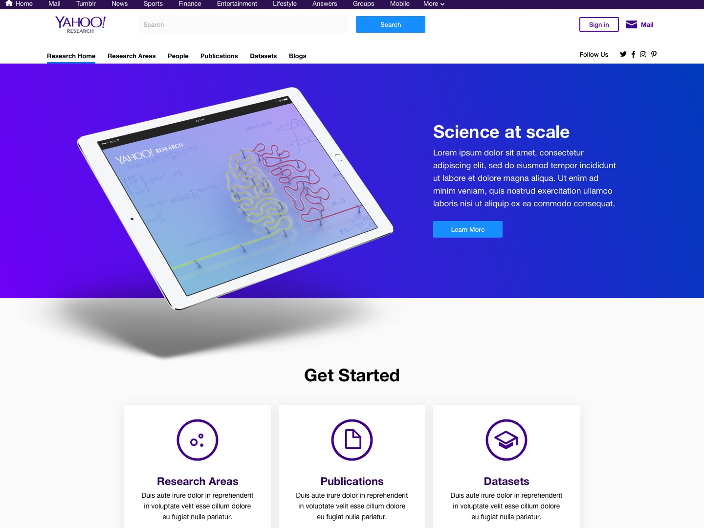 Yahoo Research Landing Page ux visual design