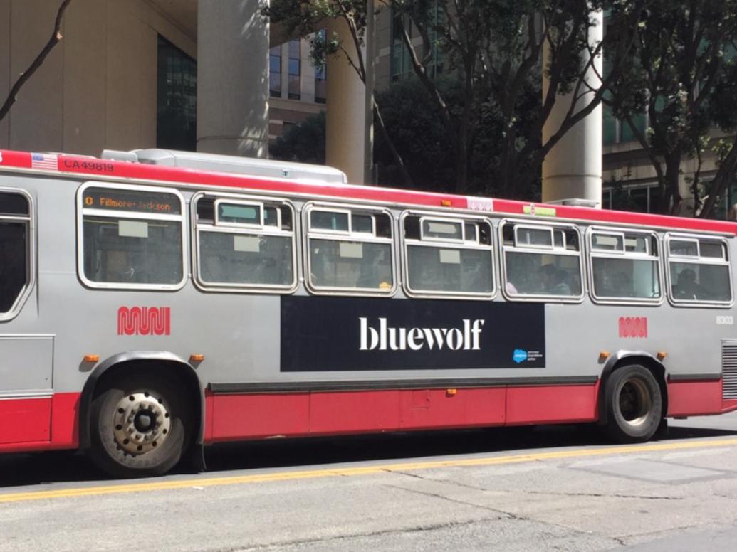 Bluewolf Dreamforce Bus Ad branding graphic design signage