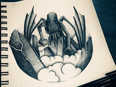Cthulhu wakes up graphic arts