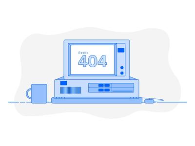 Error 404 Animated Illustration visual design vector ux ui error 404 error blob retro cinemagraph computer 404 blue ibm pc animation illustration