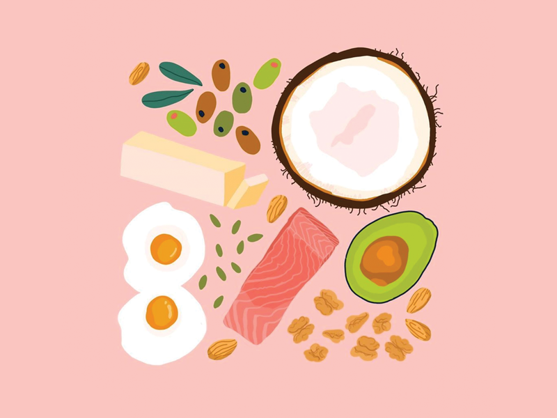 I Love Fats procreate illustration plantbased plants plantfood yolk eggs pumpkin seeds almonds olives butter avocado coconut healthyfats fat food food illustration foodillustration