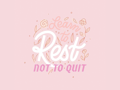 Learn to Rest 1960s vintage color theory typography handlettering popart pink procreate illustration lettering