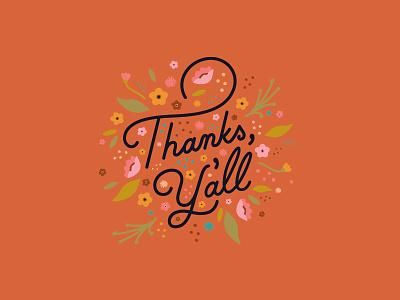Thanks Y'all! cards branding palm canyon drive vintage monoline script design pink procreate illustration