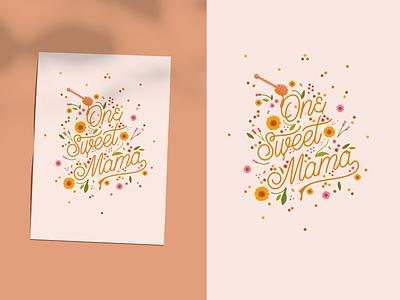 Illustrated Mother's Day Card illustration art florals procreate design monoline script vintage typography illustration