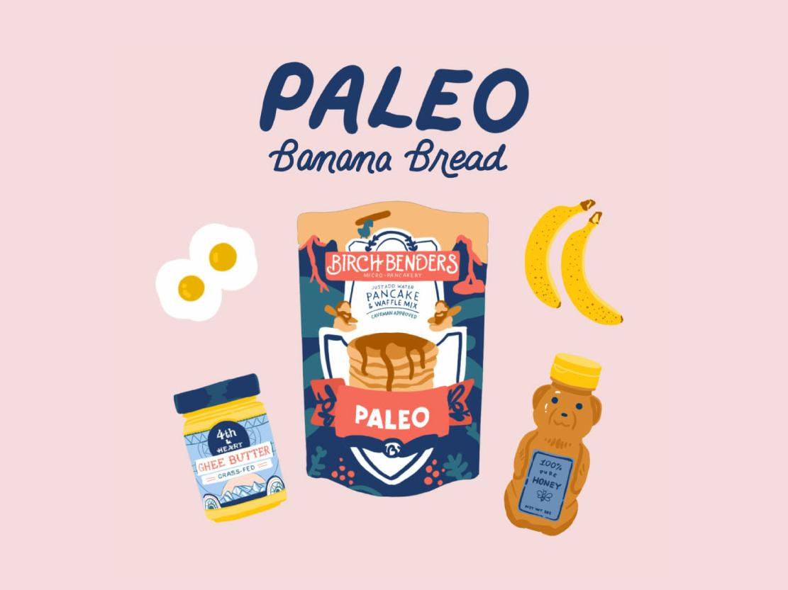 Paleo Banana Bread 1 popart food recipe pink monoline script color handlettering script lettering typography illustration