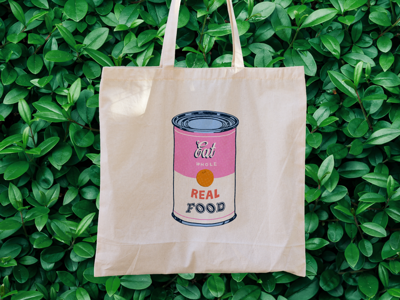 Eat Real Food Tote Bag canvas tote tote totebag grocerystore warhol ipad lettering colortheory 1960s typography procreate pink handlettering popart illustration lettering