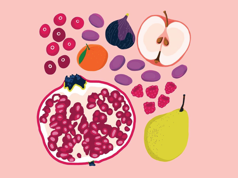 Fall Fruits healthy whole30 fruit fruits fruits and vegetables online vintage food illustration food truck food and drink grocery groceries food app procreate pink popart illustration