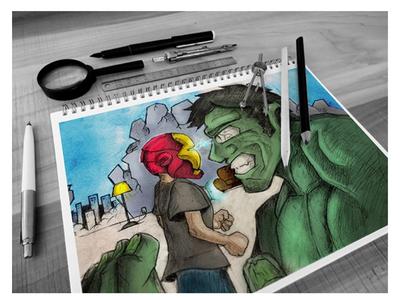 Marvel Fanart - Iron Man Vs Hulk comic art comic illustrator illustration graphic hulk iron man marvel comics mcu marvel fanart marvel fan art