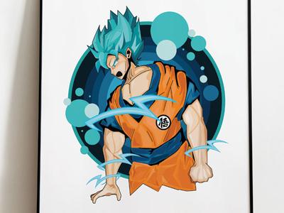 Goku digital art digital illustration drawing animefanart anime goku dragonballsuper dragonball z fanart vector design poster design illustrator graphic art illustration graphic design