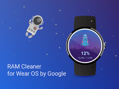 Design for mobile app RAM Cleaner for Wear OS by Google vector flat wearables time mobile android watch os watch app design ui